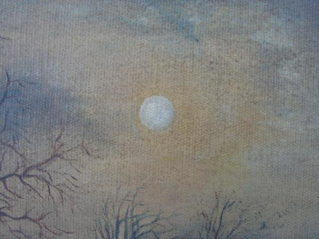 C. 1902 AMERICAN FOLK ART MOON LIT LANDSCAPE PAINTING