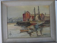 20TH CENTURY OIL ON PANEL OF GLOUCESTER HARBOR SCENE