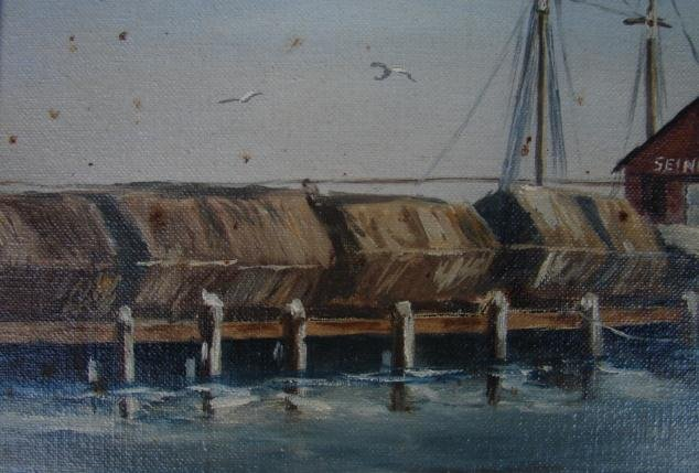 20TH CENTURY OIL ON PANEL OF GLOUCESTER HARBOR SCENE