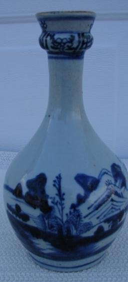C. 1875 CHINESE EXPORT BLUE/WHITE HOT WATER BOTTLE 9