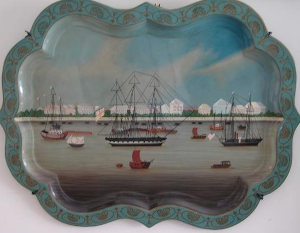 MAITLAND SMITH TOLE TRAY OF HONGS AND HARBOR, HONG KONG