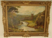 19TH CENTURY PRIMITIVE ENGLISH LANDSCAPE