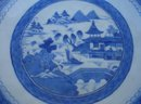 C. 1840 CHINESE EXPORT BLUE CANTON SAW TOOTH BOWL 9 1/4