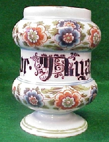 Porcelain apothecary jar with underglaze