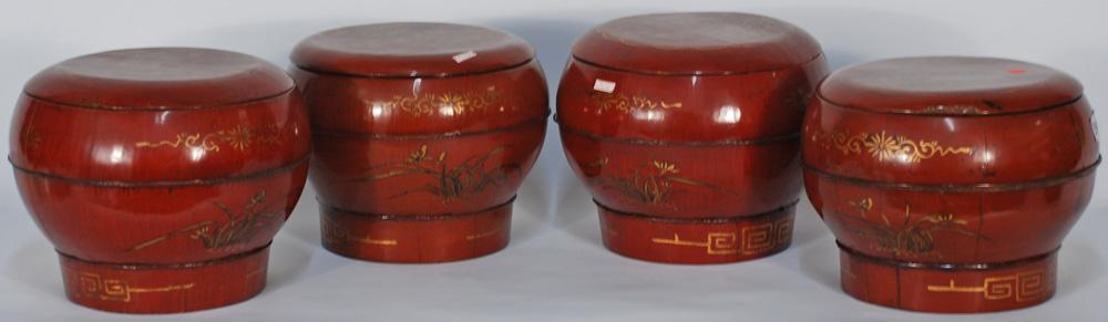 Chinese Bulb Shaped Painted Bucket with Lid
