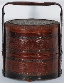 Chinese Woven Round Food Basket with Handle
