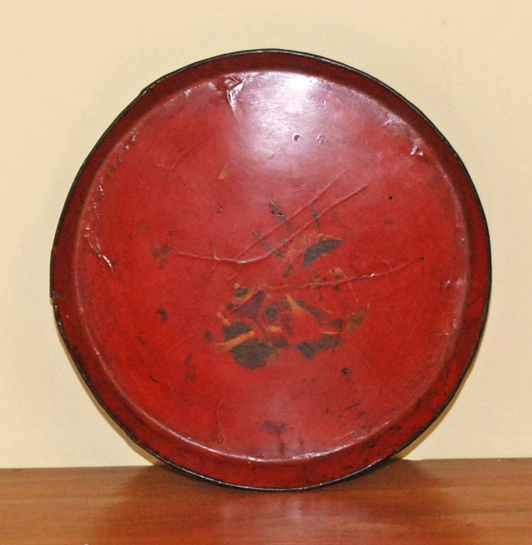 Antique Asian Red Lacquered Tray