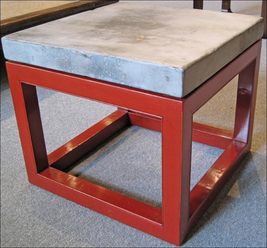 Asian Stone Top Table with Cube Base