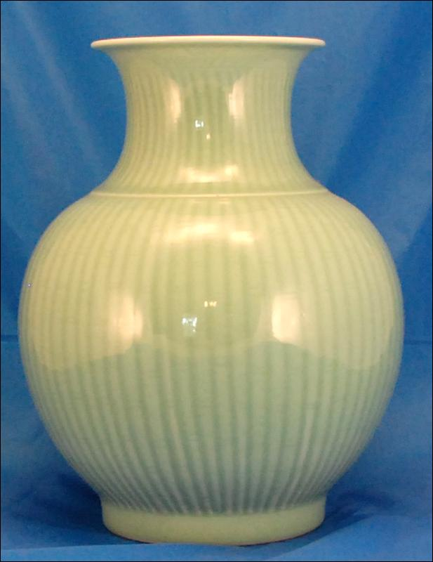 Large Bulb Shaped Celadon Vase