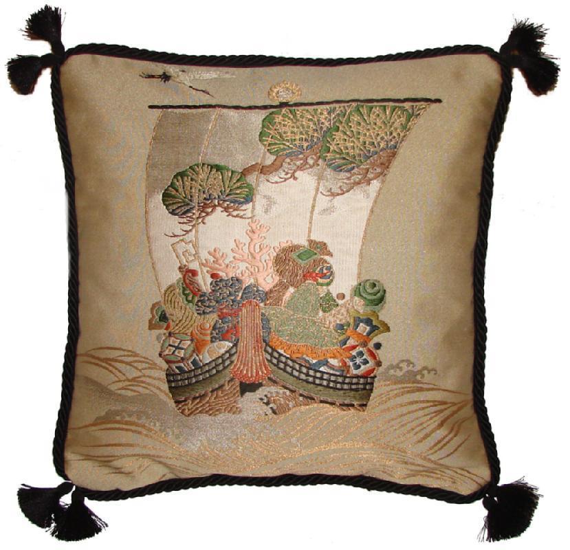 Fukusa Accent Pillow with Treasure Ship
