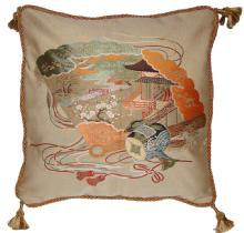Fukusa Decorative Pillow with Fan and Mallet Of Luck