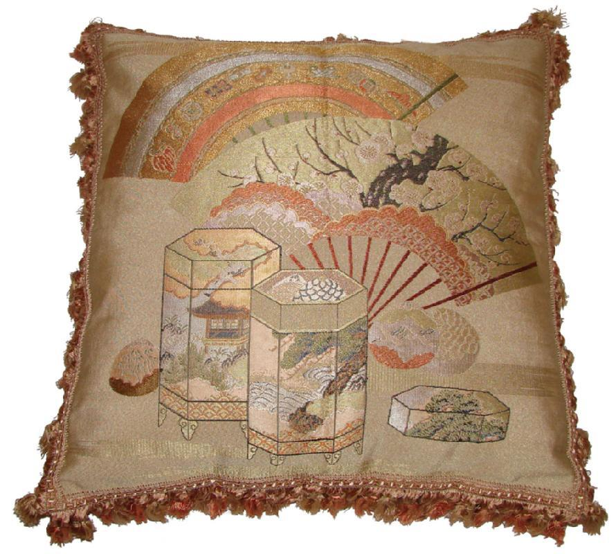 Fukusa Accent Pillow with Decorative Fans and Kioke Boxes