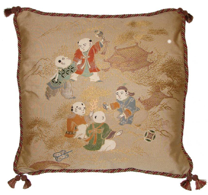 Fukusa Designer Accent Pillow with Children Playing