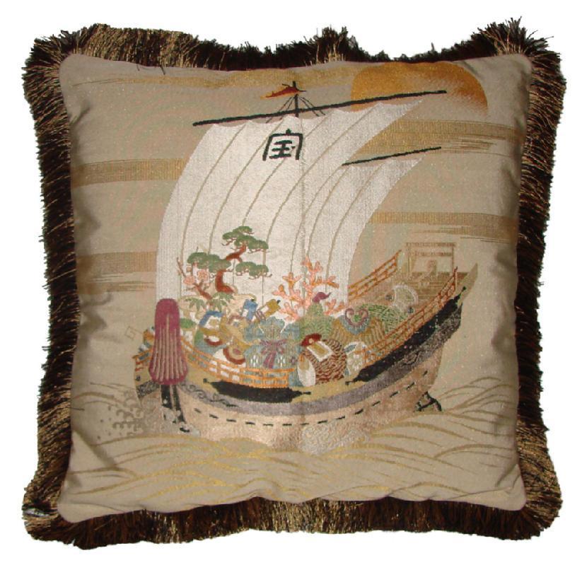Fukusa Designer Accent Pillow with Treasure Ship