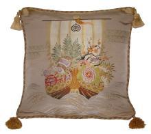 Fukusa Accent Pillow with Treasure Ship