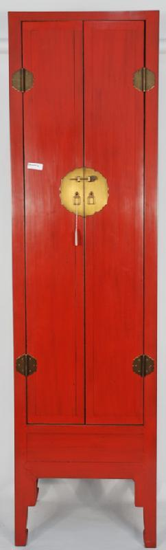 Asian-Inspired Red Lacquered Tall and Slender Cabinet