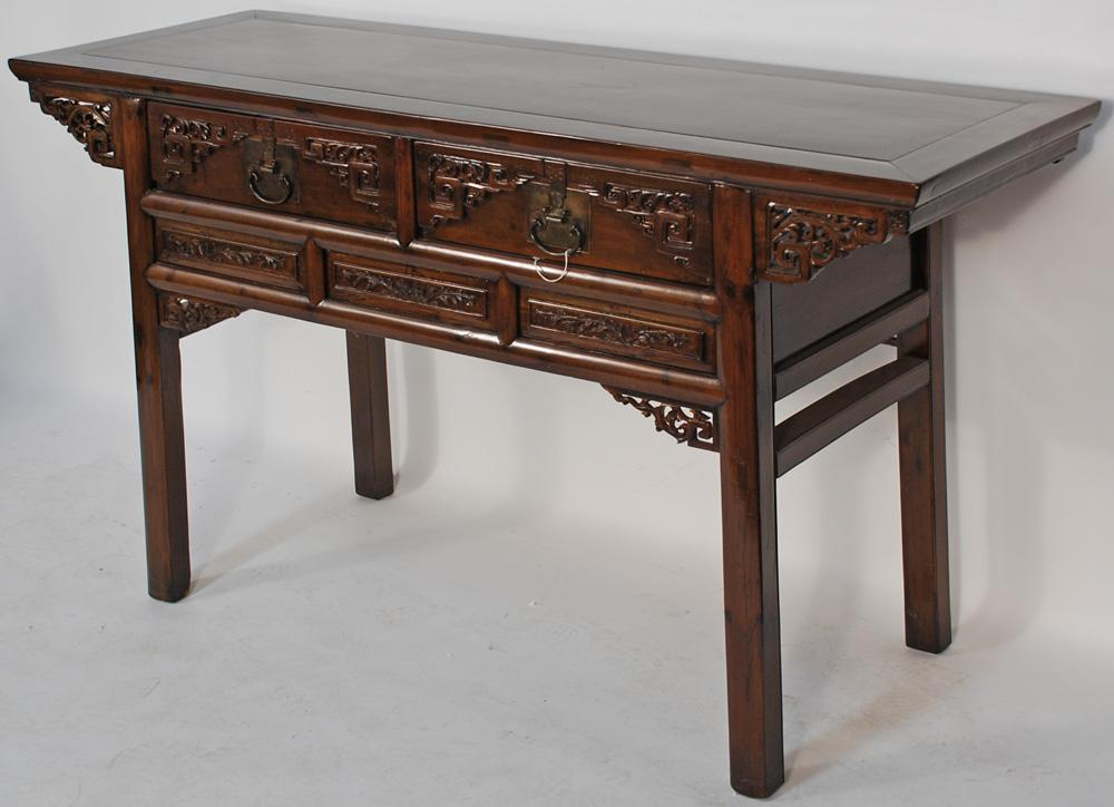 Antique Chinese Carved Desk or Console Table