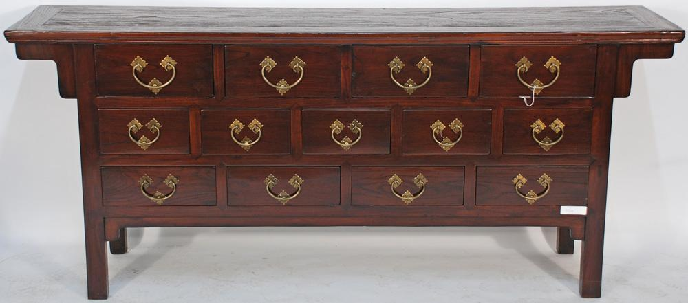 Asian-Inspired Buffet Console Cabinet with 13 Drawers
