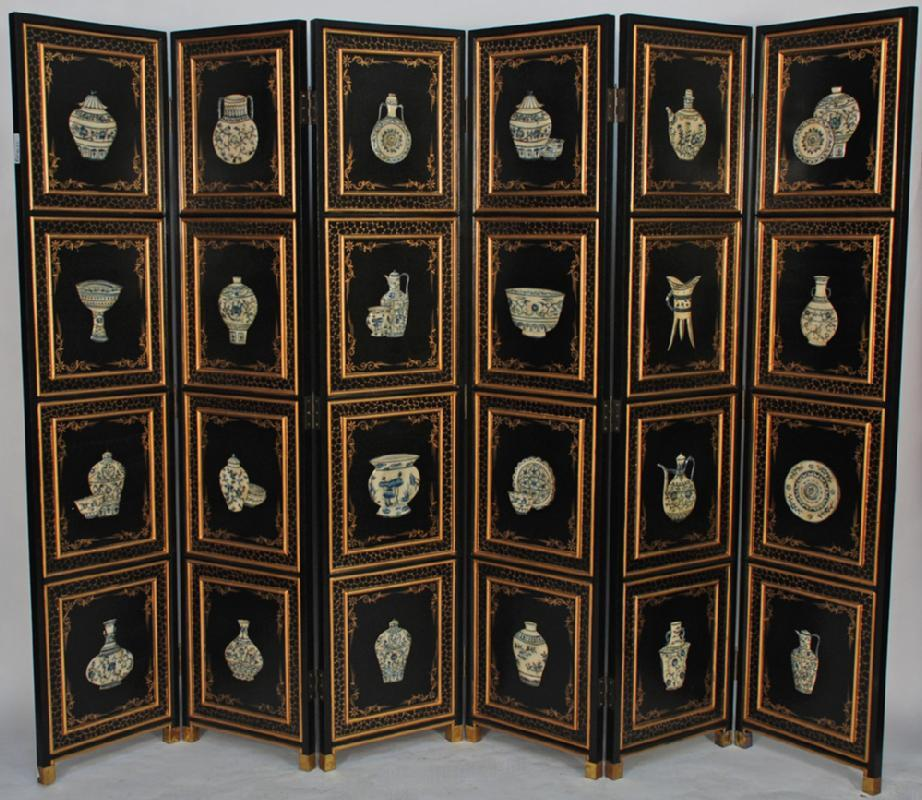 Chinese Wooden Screen Room Divider with Stone Inlay