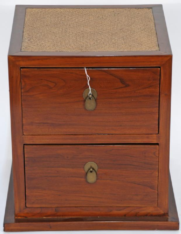 Asian-Inspired Small Cabinet with Rattan Top