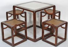 Asian-Inspired Cube Table, with Marble Top and Stools