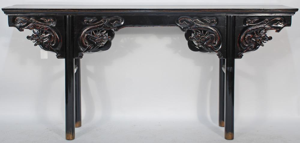 Antique Chinese Lacquered and Carved Altar Table