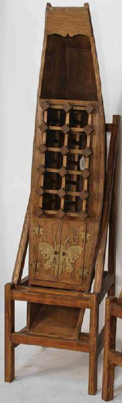 Antique Chinese Canoe Converted into Wine Rack