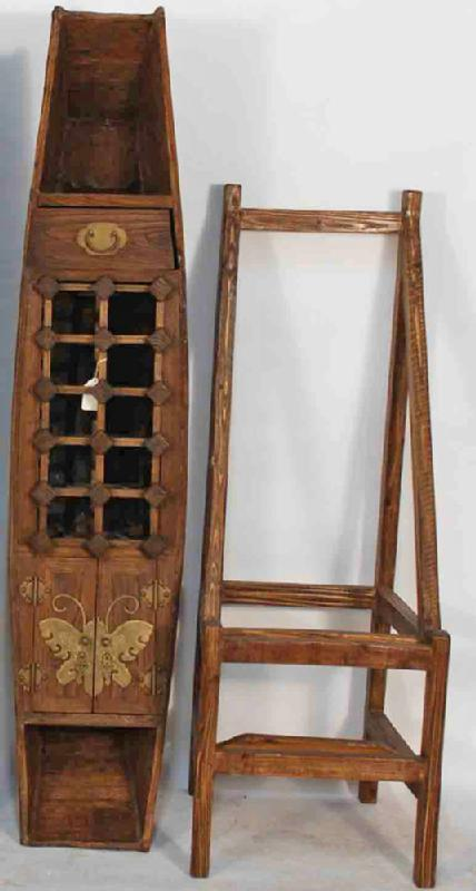 Antique Chinese Boat Converted into Wine Rack