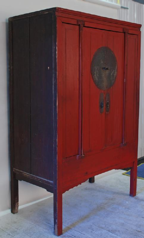Antique Chinese Red Lacquered  Wedding Cabinet