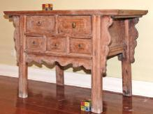 Antique coffer table with three new bottom drawers