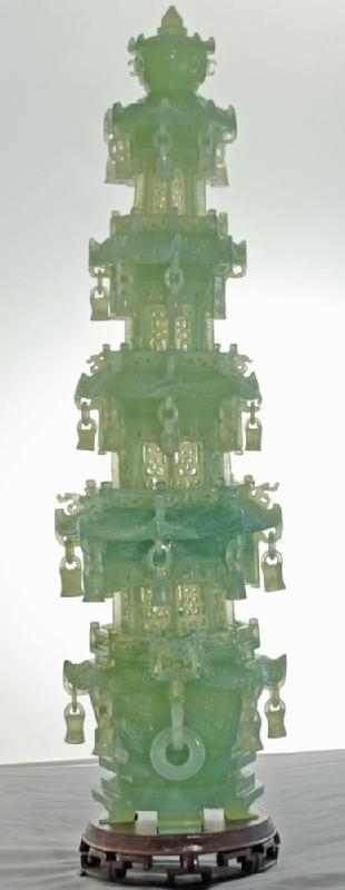 Chinese Green Jade Carved Pagoda