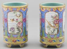 Jingdezhen Painted Porcelain Brush Pot