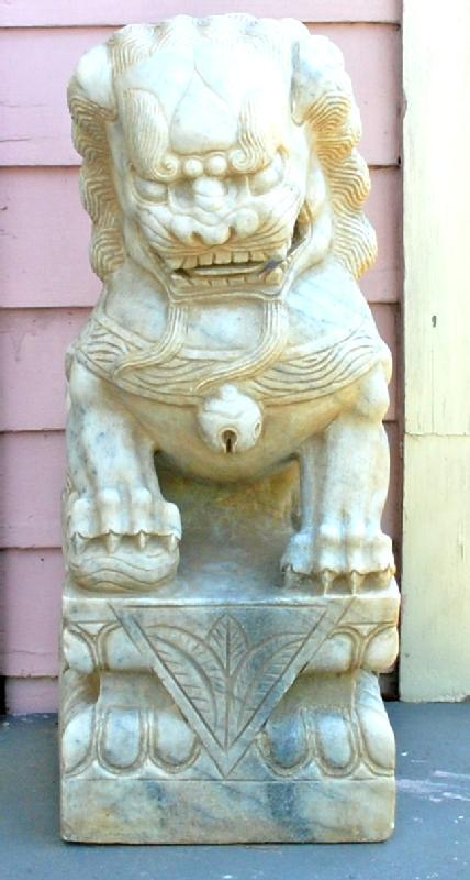 Pair Large Marble Chinese Fu Dog Lions