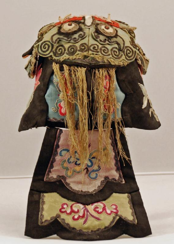 Late 19th century silk Chinese child's hat - black rat with green dragon