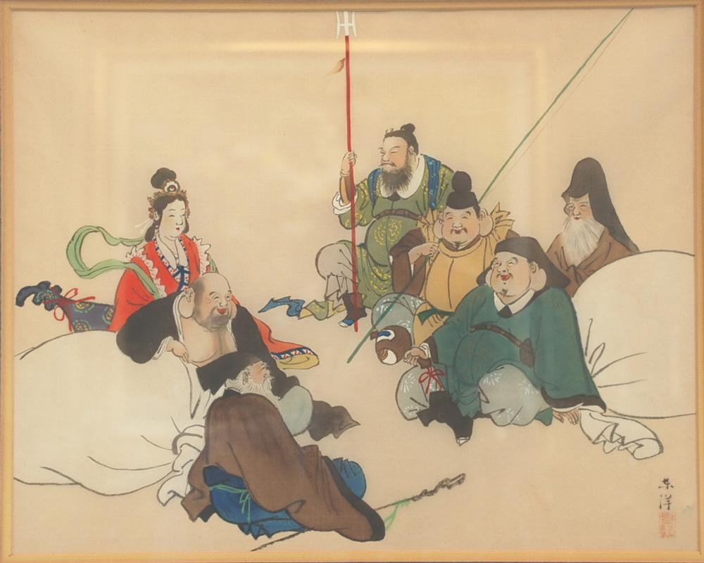 Asian Silk Painting of Chinese Buddhist Dieties