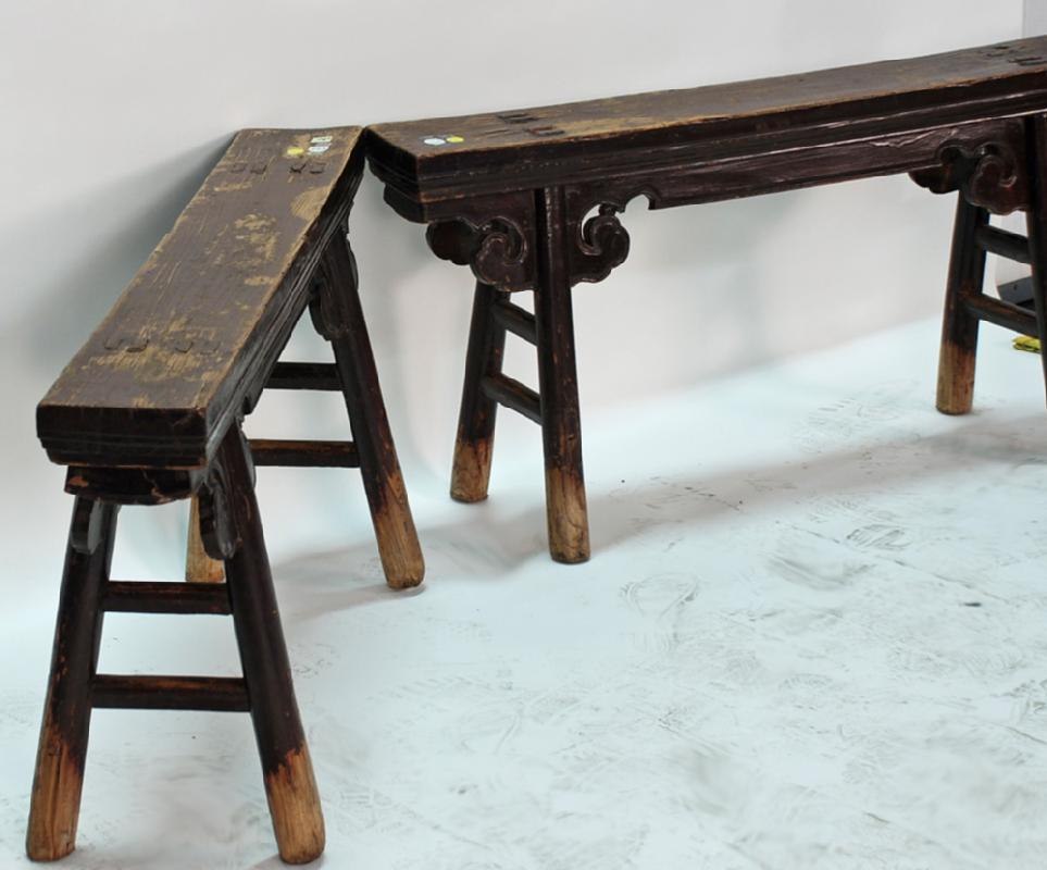 Carved Chinese Antique Gate Bench
