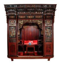 Antique Chinese Carved Canopy Bed with Alcove