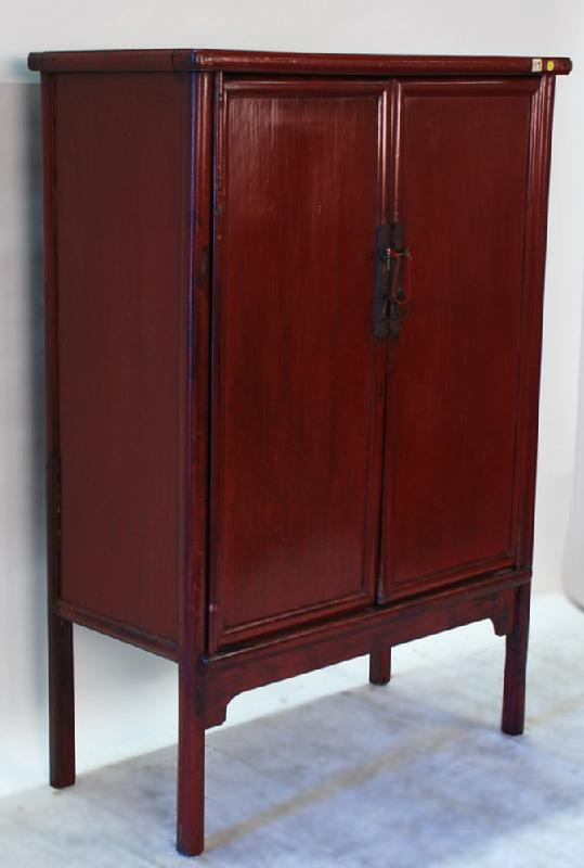 Antique Chinese Red Lacquered 2- Door Cabinet