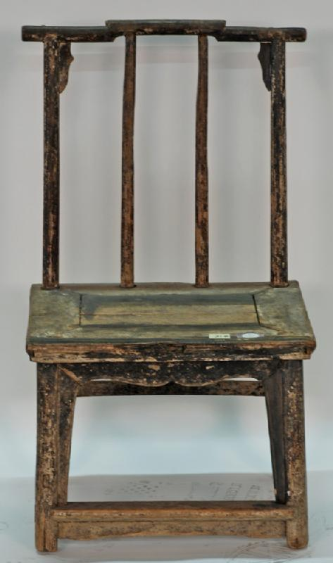 Antique Chinese Pencil Back Chairs, Small