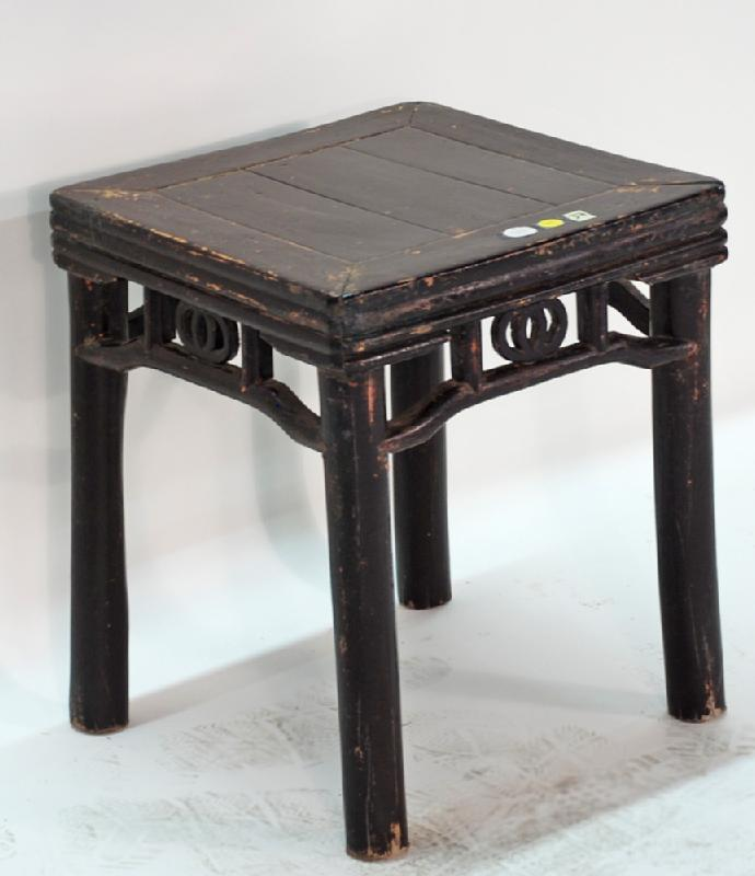 Antique Chinese Square Brown Lacquer Table