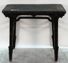 Antique Chinese Black Lacquer Wine Table with Drip Edge