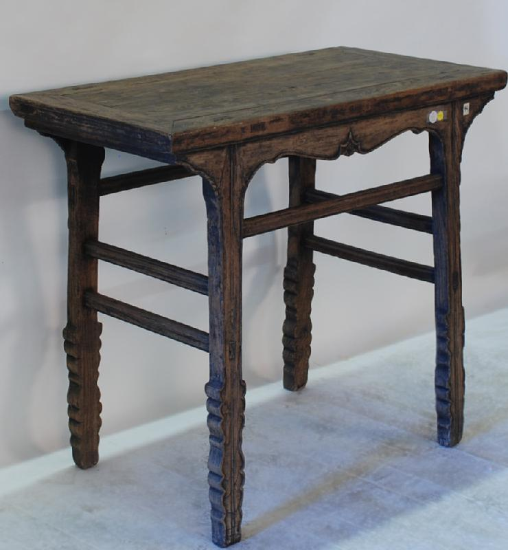 Antique Chinese Sword Leg Side Table with Stretchers