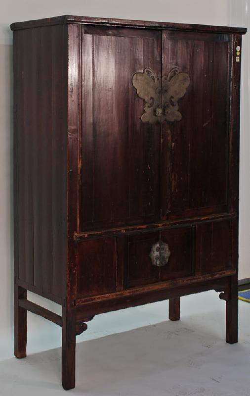 Antique Chinese 4-Door Cabinet with Butterfly Plate