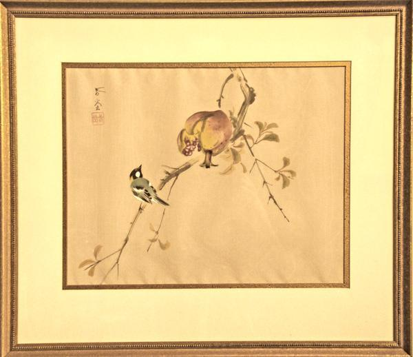 Japanese Bird and Pomegranate Painting