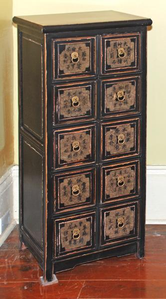 Ten Drawer Black Chinese Apothecary Chest