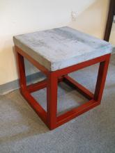 Stone Top Asian Table with Cube Base