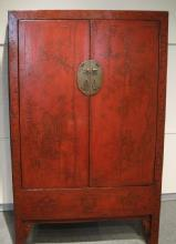 Chinese Red Lacquered Armoire Cabinet