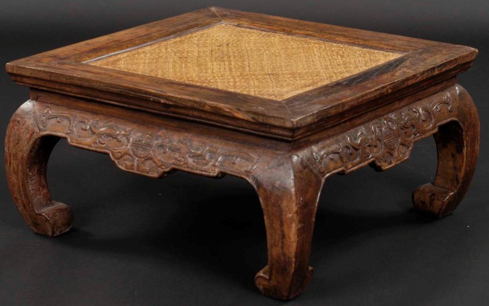 Chinese Square Carved Kang Table