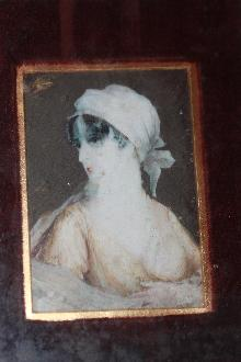 1846 Painting on ivory of woman in stand