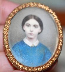 Godfred Miller NY Miniature on Ivory Rosamund Miller 1861 in case